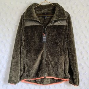 NEW Lucky Brand Olive Green Faux Fur Sherpa Jacket